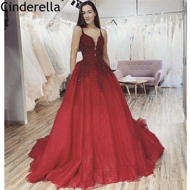 Vestidos de noche rojos con cuello en V y encaje hasta el suelo vestidos de noche cristalinos barato vestidos de fiesta de noche