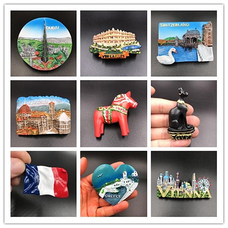 Imán de nevera Souvenir a Dubái, Versalles, cisnes, lago suizo, Firenze, Dala, caballo egipcio, Mar del mar Egeo, Grecia, decoración de país