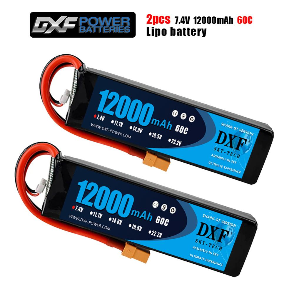 2PCS DXF 2S 7.4V 12000mAh 60C Max 120C Lipo Battery RC Parts with T plug Comfortable for TRXX 1/10 Car Drone Helicopter Boat FPV