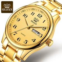 OLEVS  Watch Men Fashion Sports Quartz Full Steel Gold Business Mens Watches Top Brand Luxury Waterp