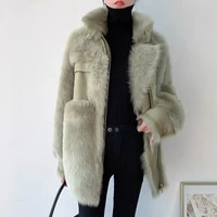 women spring winter mid length sheep shearing outcoat female double faced fur wool coats ladies thick warm fur coat