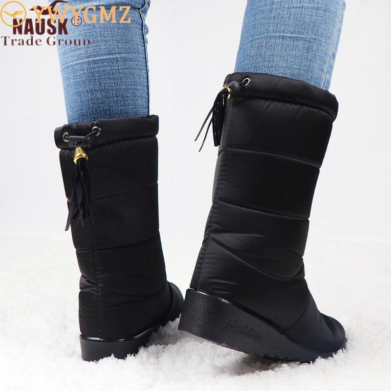 Nausk à prova dwaterproof água botas femininas meados de bezerro botas para baixo sapatos neve bottes femme pele de pelúcia palmilha sapatos preto botas mujer invierno