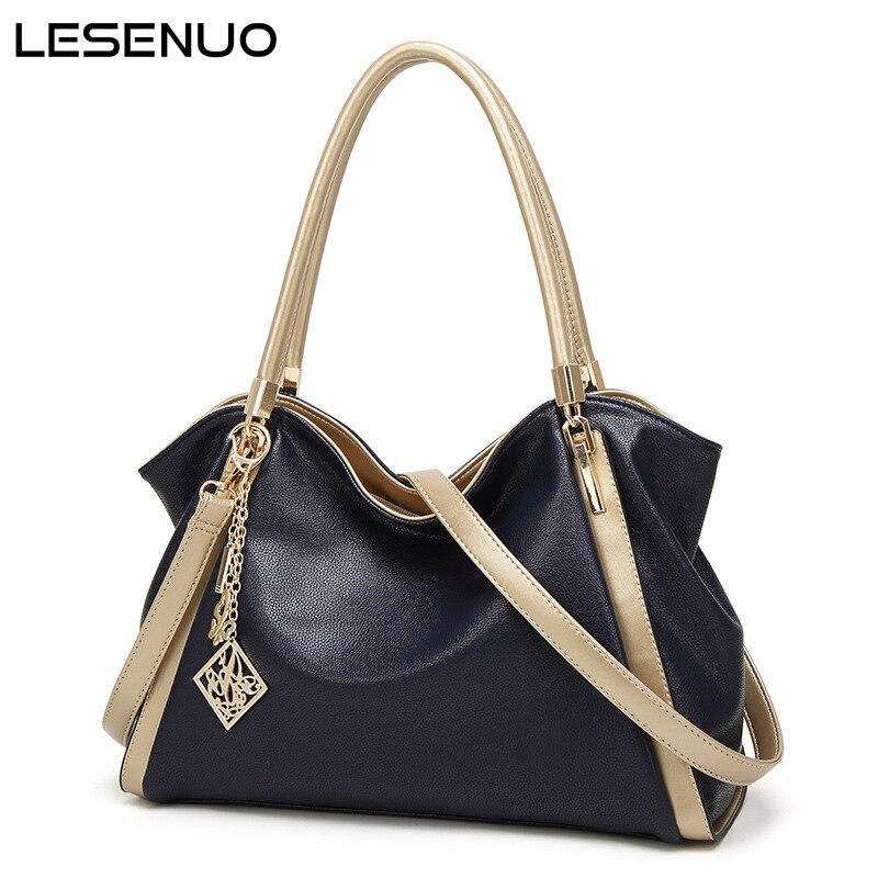 LESENUO New Luxury Handbag 2021 Fashion Women Tote Ladies Vintage Shoulder Bag Female Ladies Totes PU Leather Designer Handbags