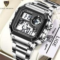 Часы наручные LIGE Мужские Цифровые, Брендовые спортивные водонепроницаемые электронные в стиле милитари