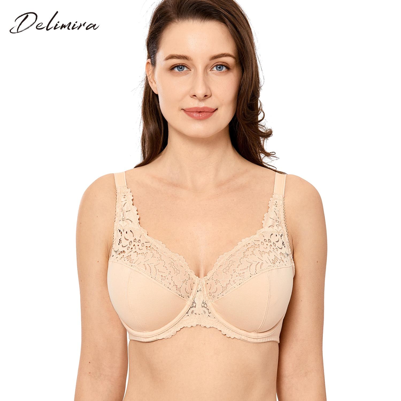 Delimira feminino plus size floral rendas minimizador não acolchoado figura completa underwire algodão sutiã