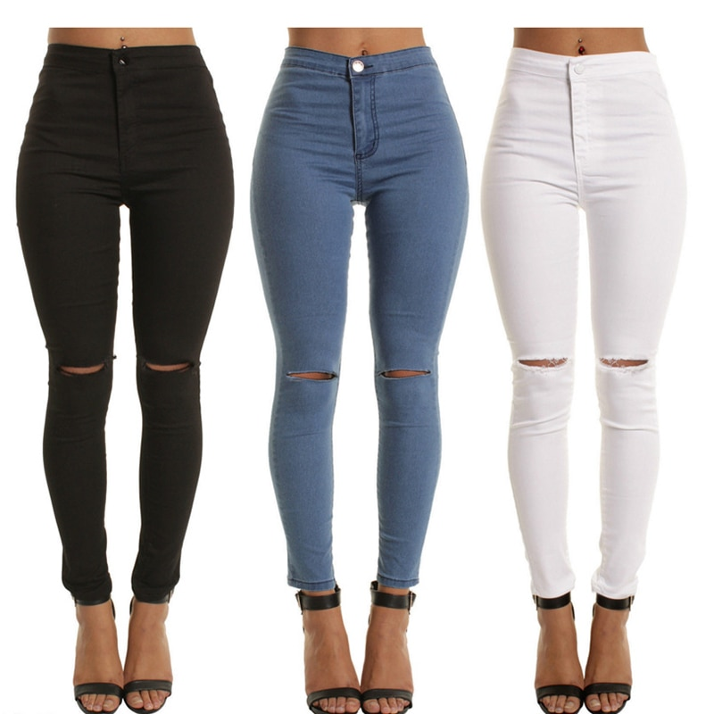 2020 New Arrival Fashion Hot Women Denim Skinny Pants High Waist Stretch Jeans Slim Pencil Ladies Casual Jeans W46