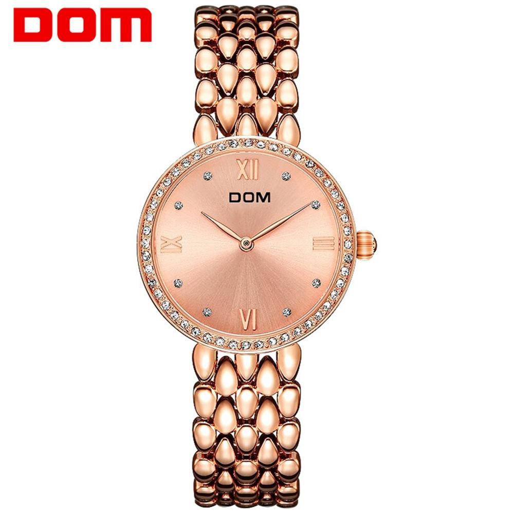 Dom relógio de aço feminino senhoras vestido de luxo moda quartzo relógio de pulso clássico cristal pulseira de ouro relógio feminino G-1235G-7M