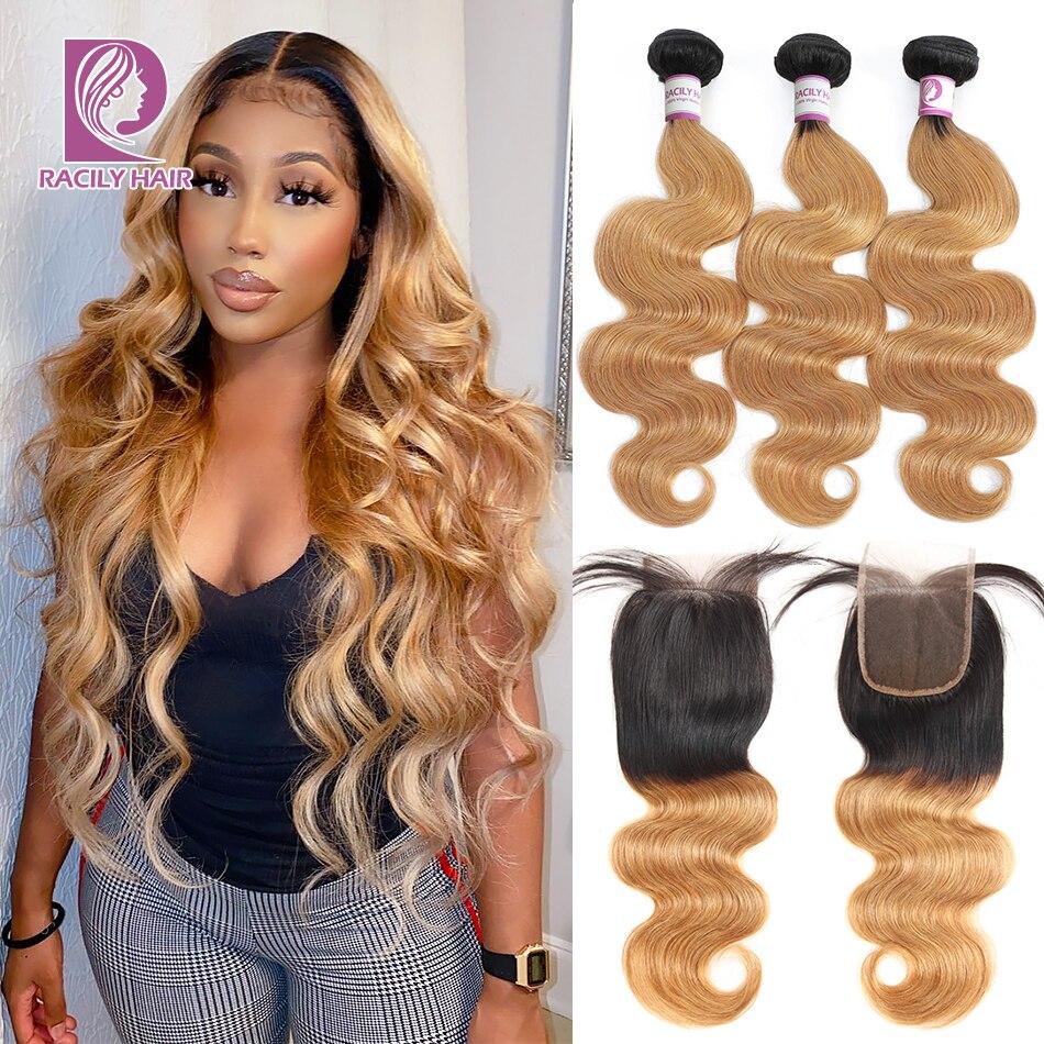 Racily Hair Ombre Brazilian Body Wave Bundles With Closure Remy Hair 3/4 Bundles With Closure T1B/27 Blonde Bundles With Closure