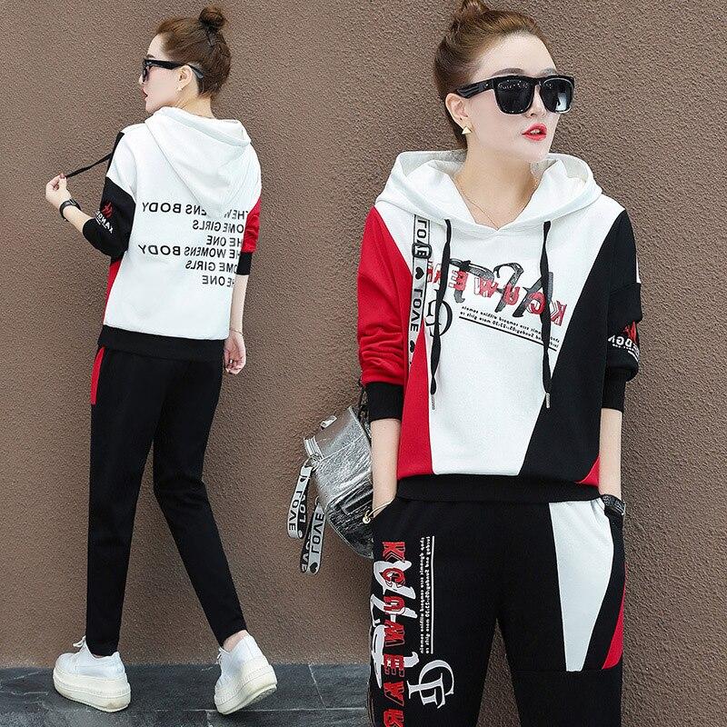 مقنعين اثنين من قطعة مجموعة المرأة عرق الدعاوى العصرية الكورية رياضية الأزياء 2 قطعة صالة الملابس Sweatsuits الرياضية زائد حجم 2XL