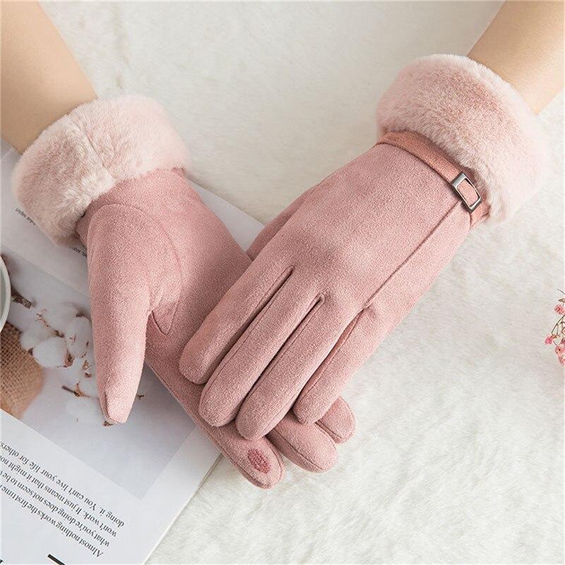 Winter Touch Screen Gloves Women velvet Warm Stretch Knit Mittens Imitation Wool Full Finger Guantes