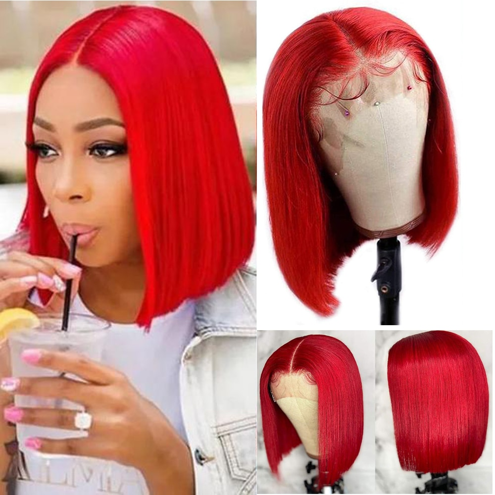 bob wig lace front human hair wigs for black women short straight red blonde blue Frontalwig colored brazilian Remy closurebob