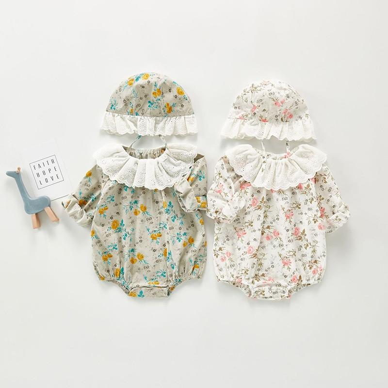MILANCEL 2020 otoño bebé recién nacido Ropa floral Body para bebé coreano bebé niña cumpleaños con sombrero ropa