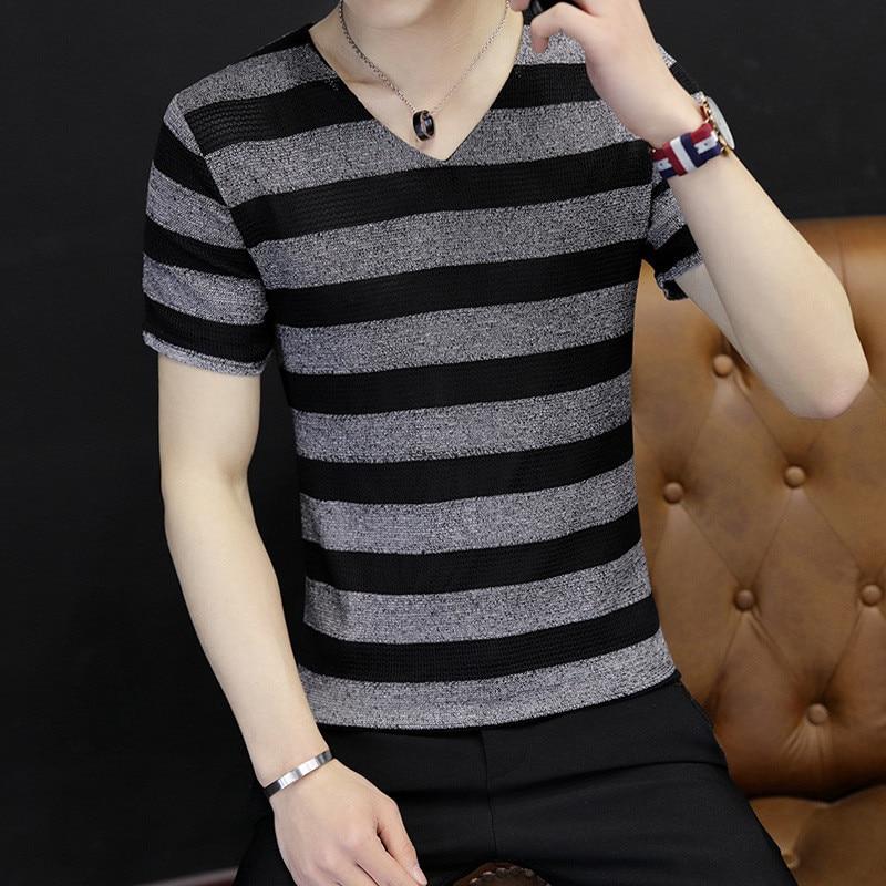النسخة الكورية من الاتجاه oshort الأكمام قميص تي شيرت الأكمام الخريف تي شيرت Qiuyi النسخة الكورية الجديدة من اتجاه الرجال