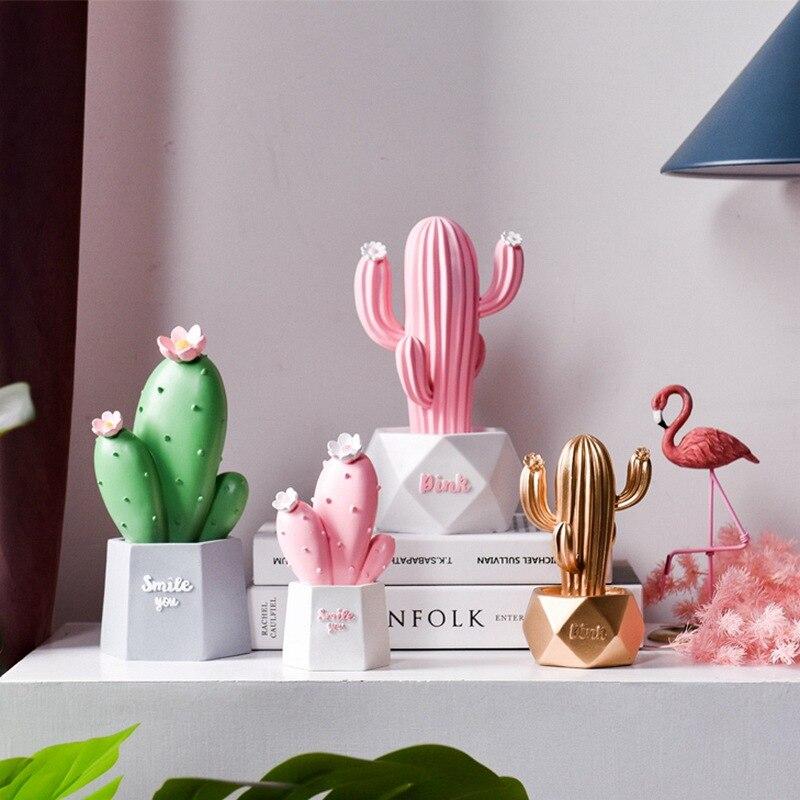 Nórdicos simulación Cactus casa creativa pequeños adornos Rosa Corazón de niña regalo Interior habitación decoración, amueblamiento