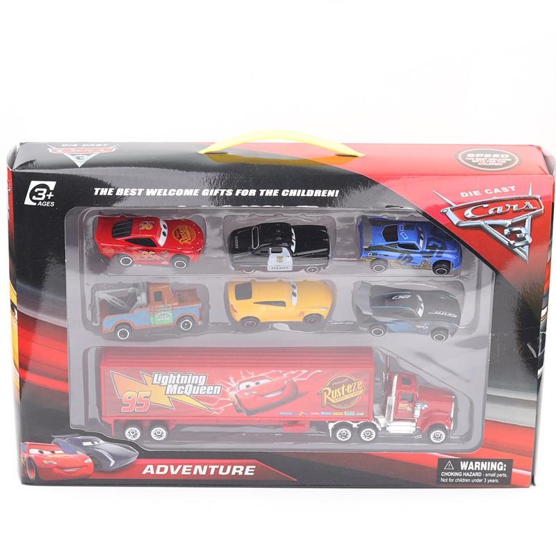 7/8/6 stücke Disney Pixar Auto 3 Blitz McQueen Jackson Storm Mack Onkel Lkw 155 Diecast Metall Auto Modell spielzeug Junge Weihnachten Geschenk