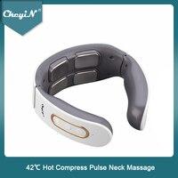 CkeyiN lectric массажер для шеи 4D импульсный массажер с подогревом 6 режимов 9 уровней прочности триггер для ткани точечный массаж для домашнего оф...