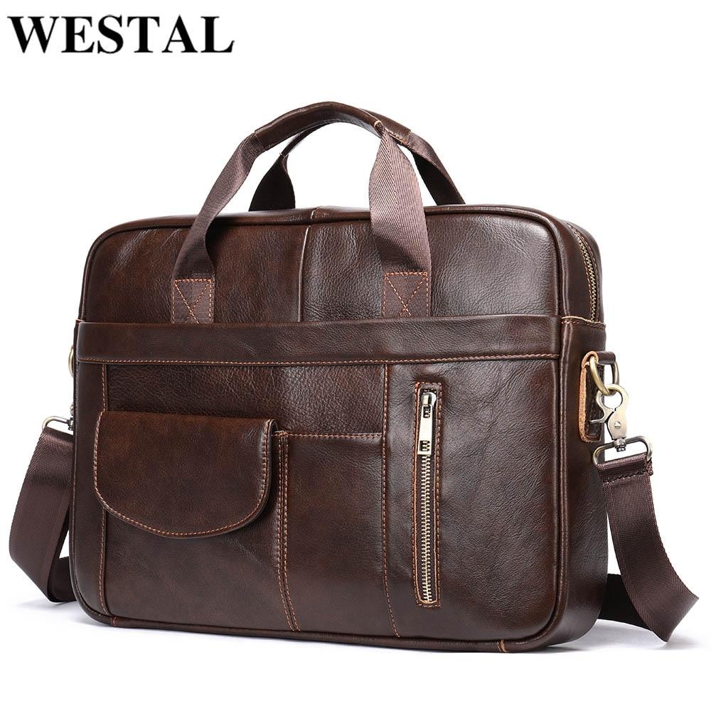 WESTAL الرجال حقائب جلدية الرجال حقيبة لابتوب جلدية ل وثيقة حقيبة للمراهقين البريدي الرجال حقيبة أعمال حمل حقيبة ساع رجل
