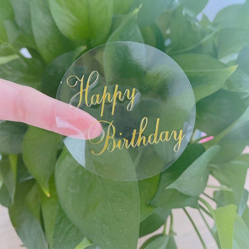 60pcs Transparent Round Bronzing Happy Birthday Seal Sticker Labels DIY Creative Stationery Sticker for Gifts Dia 6cm недорого