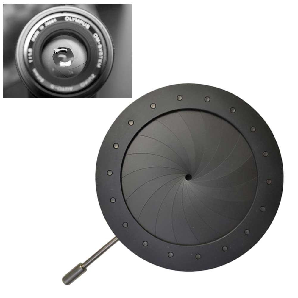 Óptica Iris Cámara adaptador microscopio condensador apertura diafragma instrumentos ópticos negro Mini amplificación diámetro ajustable
