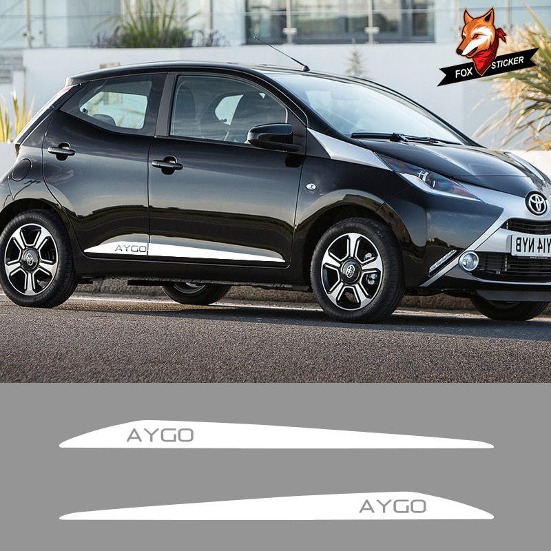 2 uds vinilo pegatina calcomanías carreras deporte Auto pegatinas coche rayas laterales faldas gráficos para Toyota AYGO
