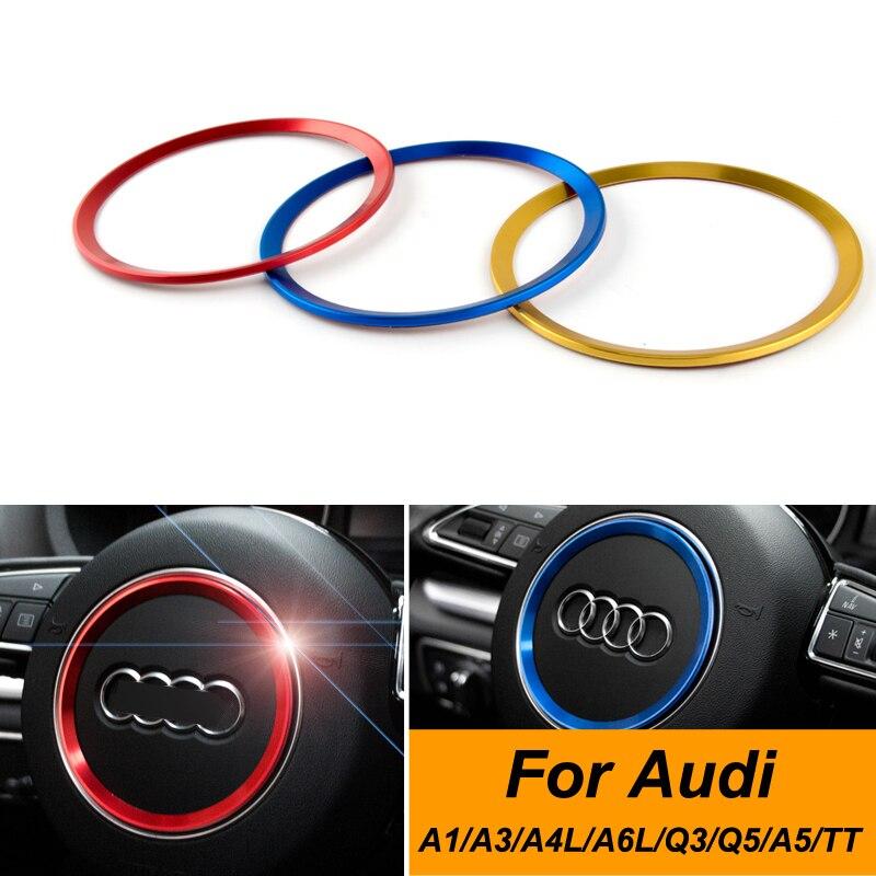 Car Steering Wheel Panel Decoration Circle Trim Ring Sticker Cover For Audi A1/A3 /a4l /a6l /q3 /q5 /a5 /TT Car Styling