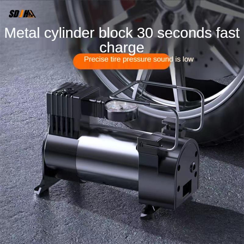 Автомобильный воздушный насос с металлическими цилиндрами, Интеллектуальный воздушный насос, портативный насос для автомобильных шин, эле...