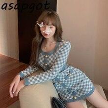 2style automne mince tempérament Sexy enveloppement hanche parfum col carré à manches longues bleu Plaid robe tricotée femmes simple boutonnage