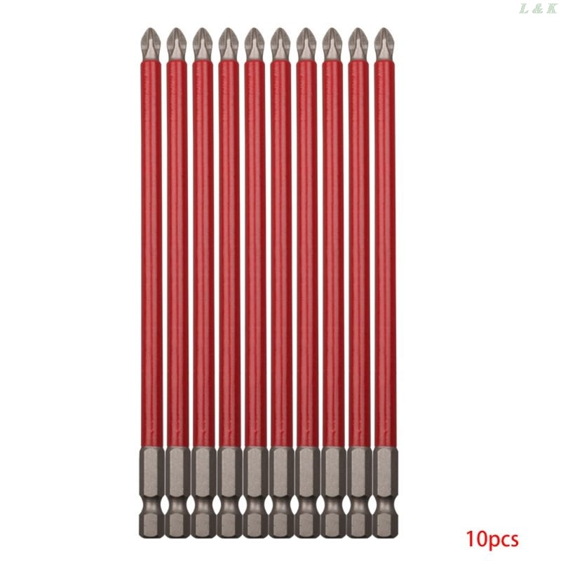 10 pçs ph2 150mm conjunto de broca de potência longo alcance não deslizamento 1/4 hex hex hex chave de fenda u50a