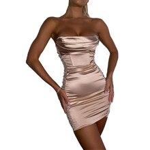 Summer Sexy Off Shoulder Strapless Satin Dress Women Backless Bodycon Silk Party Dress Sleeveless Ru