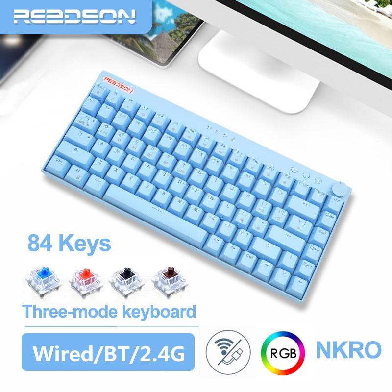 ريدسون 84 مفاتيح لوحة مفاتيح الألعاب الميكانيكية بلوتوث-متوافق/2.4G/السلكية نكرو RGB الخلفية PBT مفاتيح الأزرق/الأحمر مفاتيح للكمبيوتر