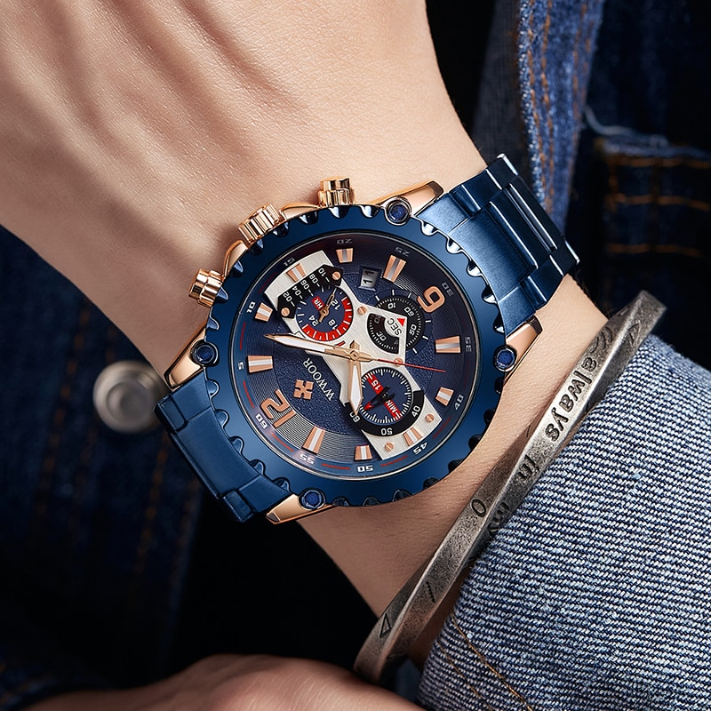 WWOOR 2020 New Fashion Big dial Watches For Mens Luxury Quartz Male Clock Full Steel Sports Waterproof Military Wrist Watch Xfcs oulm new arrive unique male watch luxury big size square dial compass decoration quartz clock antique men s military watches