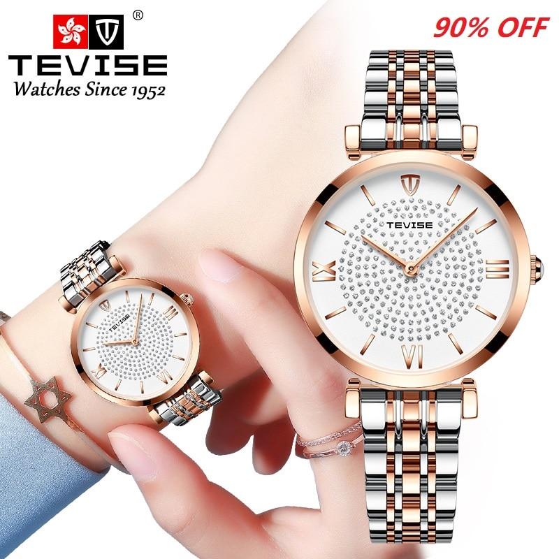 Watch Women TEVISE T09 Quartz Ladies Watch Waterproof Fashion Simple Women Wristwatch With Watch Str