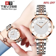 Watch Women TEVISE T09 Quartz Ladies Watch Waterproof Fashion Simple Women Wristwatch With Watch Str