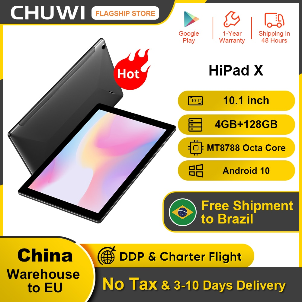 Get CHUWI HiPad X  10.1 inch FHD Android 10.0 Tablet PC Helio MT8788 Octa core 4GB RAM 128G ROM  4G LTE  Phone Call Tablet
