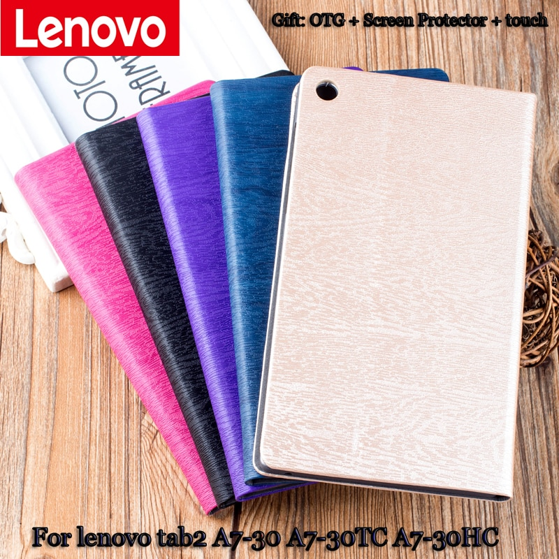 protective rotation pu leather case for google nexus 7 purple Leather Case Stand For lenovo tab2 A7-30HC A7-30TC clamshell Case for tablet PU Protective Shell protective Leather Case+gift