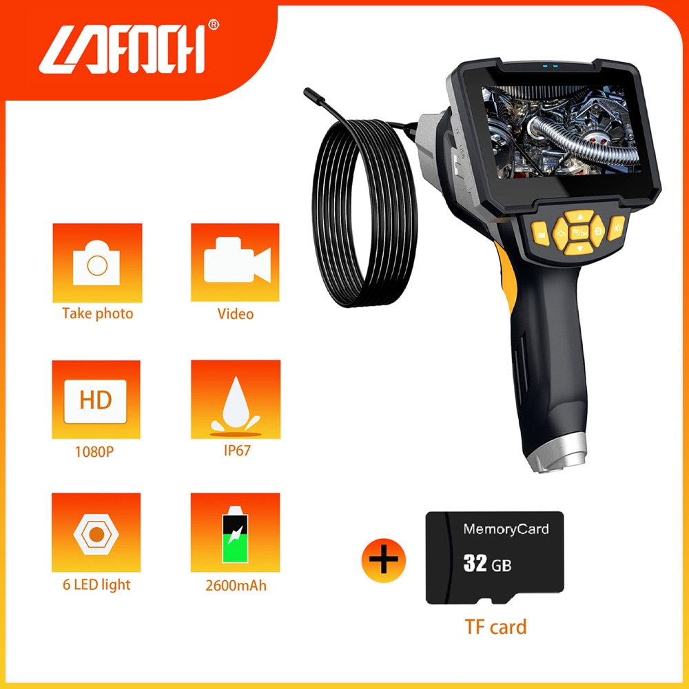 Digital Industrial Endoscope 1080P HD Portable Handheld Borescope Inspection IP67 Waterproof Camera with 4.3'' Color LCD Screen