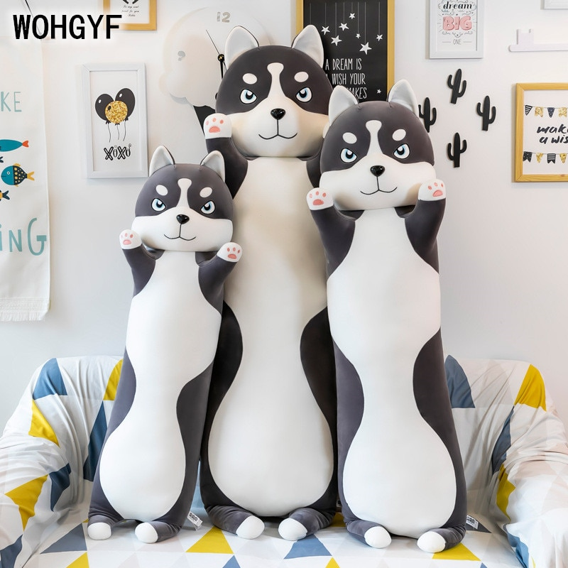 Cute Plush Dog toy Long Cotton Cute Husky Doll Plush Toy Soft Stuffed Sleeping Pillow Comfort Long pillow doll cute resin bride and bridegroom toy doll