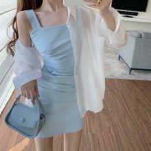 Super Popular Suit Skirt Women's Summer Thin Type Sunscreen Shirt with Pleated Suspender Vest Dress