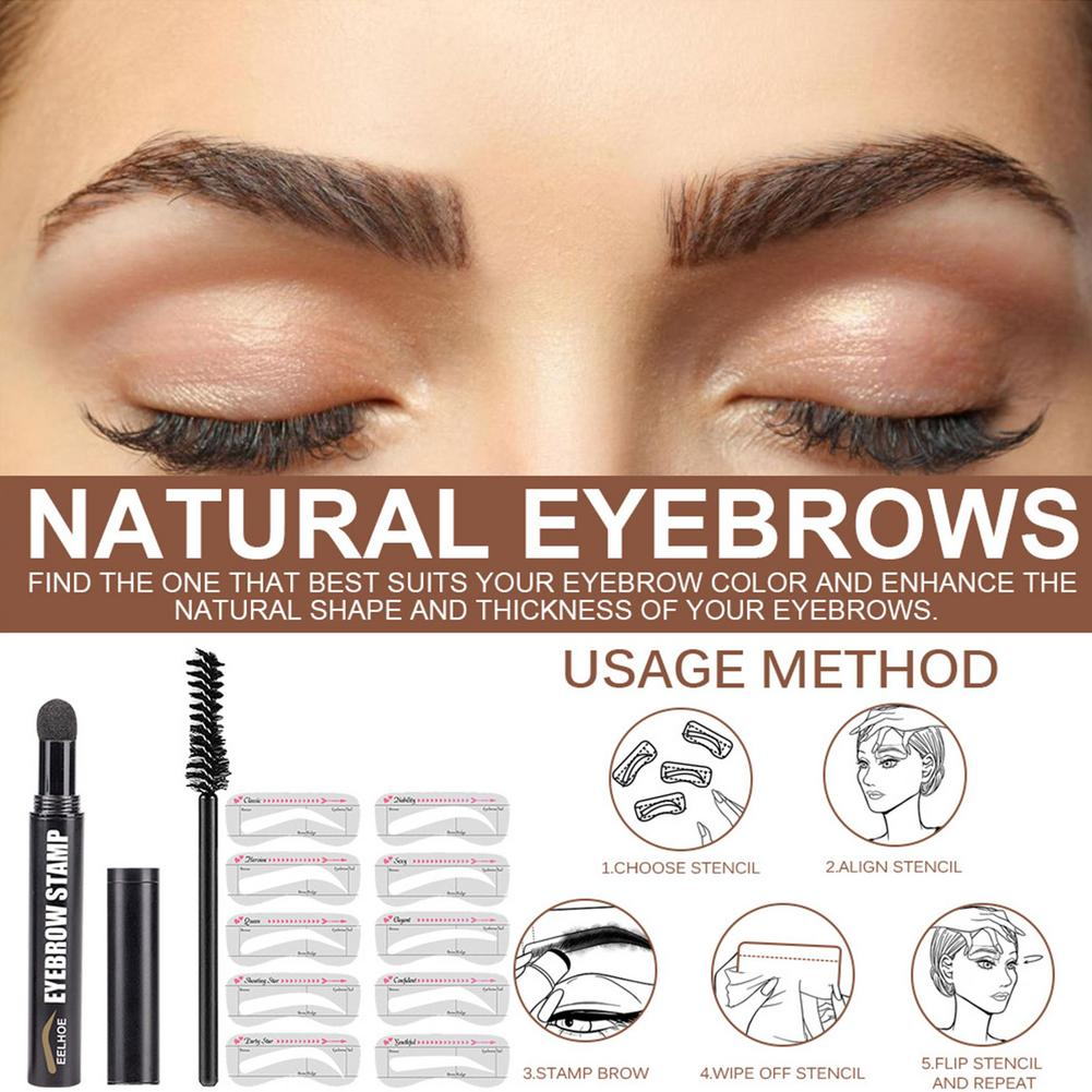 Eyebrow Stamp Shaping Kit Professional Eye Brow Gel Stamp Makeup Kit With 10 Reusable Eyebrow Stencils Eyebrow Brushes New lamel professional oh my stamp liner with stamp star