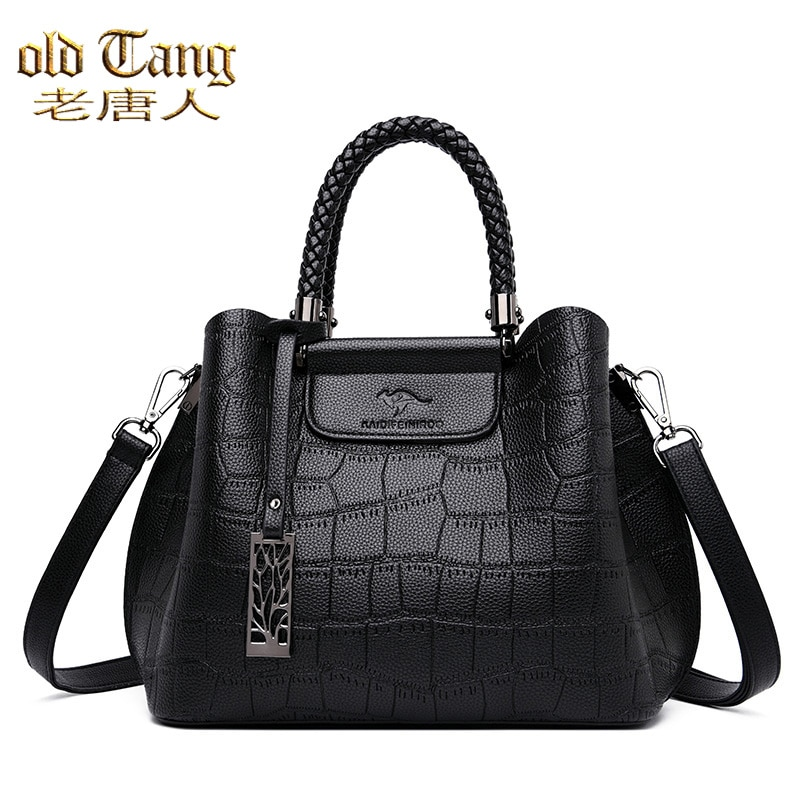 OLD TANG Hand-knitted Luxury Handbags Stone Pattern Ladies Shoulder Bags For Women 2021 Designer  Cr