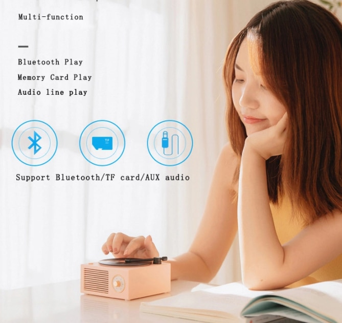 Music Box Type Built-in Bluetooth Stereo Wireless Vintage Retro Microphone Speaker HIFI Aux Support Portable Record Player Shape enlarge