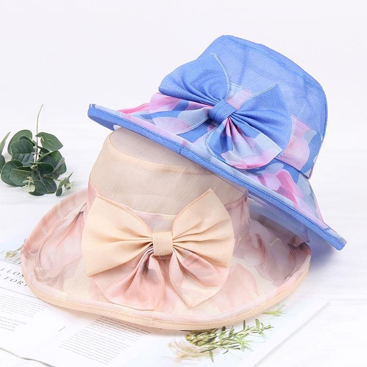Mingli Tengda-قبعة عريضة الحواف للنساء ، مع فيونكة من الشاش ، قابلة للطي ، إكسسوار زفاف ، في الهواء الطلق
