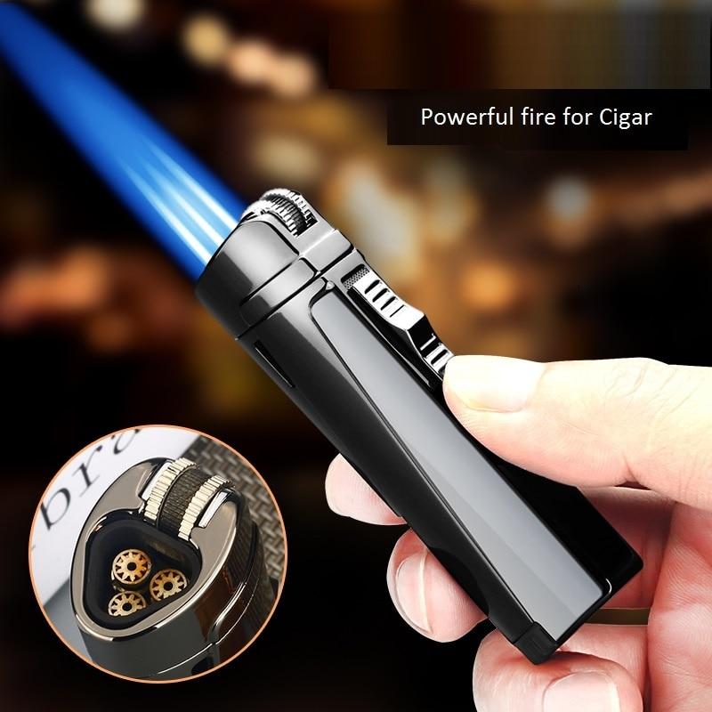 Free shipping Windproof Butane Lighter Cigar Lighter encendedor Cigarette Triple Torch lighter can b