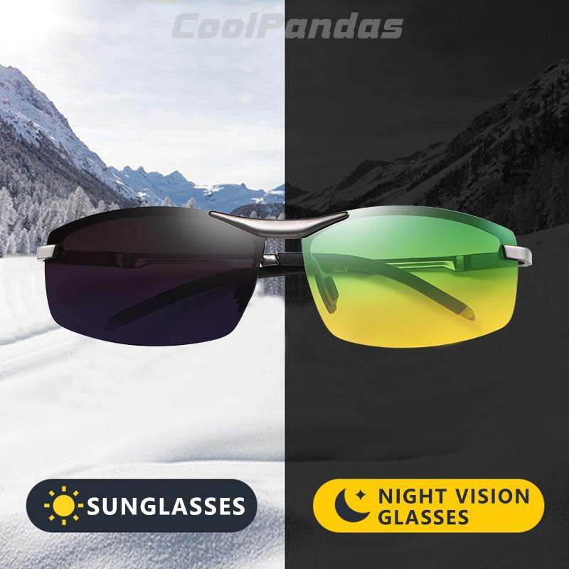 CoolPandas 2020 Photochromic Sunglasses Men Day Night-Vision Polarized Chameleon Glasses Driving UV4