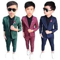 2021 formal wedding boy costume 2 pieces blazer pants children dress suit plaid kids school uniform teenagers party clothes wear