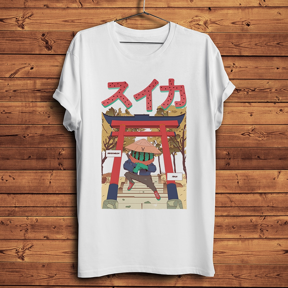Watermelon ninja Funny Anime t shirt Men Homme Summer New White Short Sleeve Casual Tshirt Unisex Manga Streetwear Tee недорого