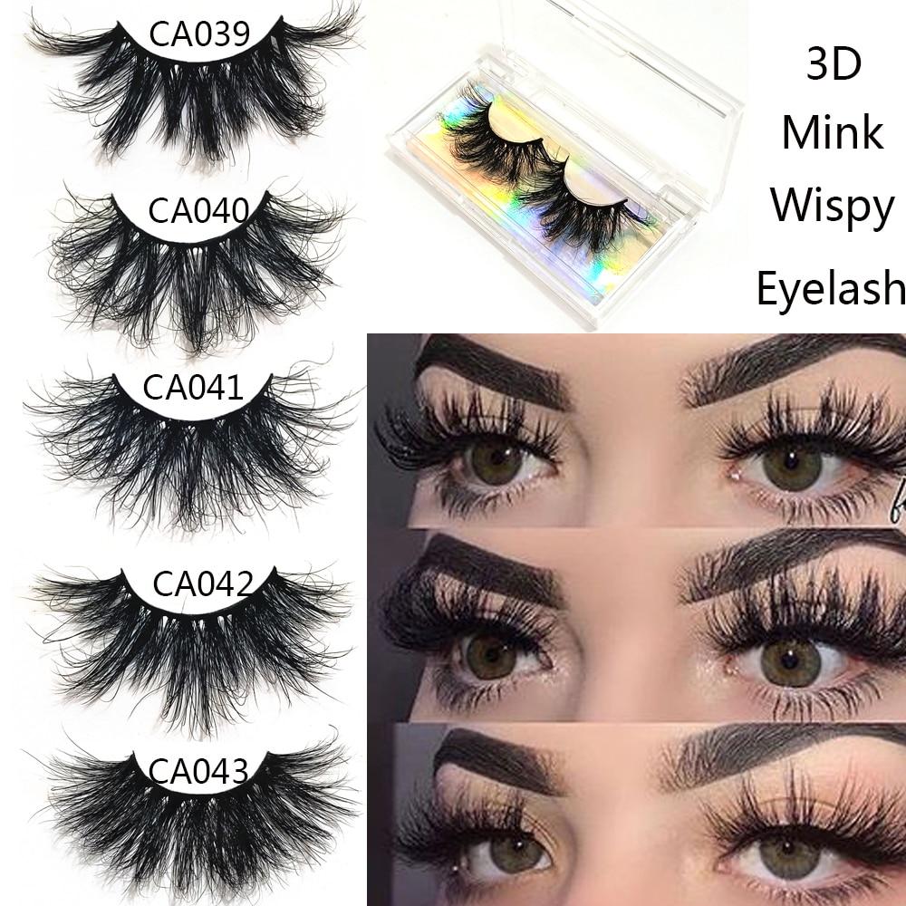 1 paire 20mm vison cils 100% 3D vison Wispies faux cils naturel épais Volume moelleux longs cils Extension réutilisable maquillage