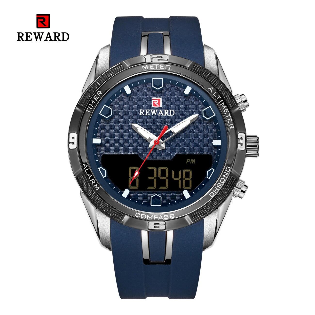 Herren Uhren Reward 3bar Water Resistant LED Silicone Dual Movement Digital Electronic Watch Men's Sports Smart Wristwatches