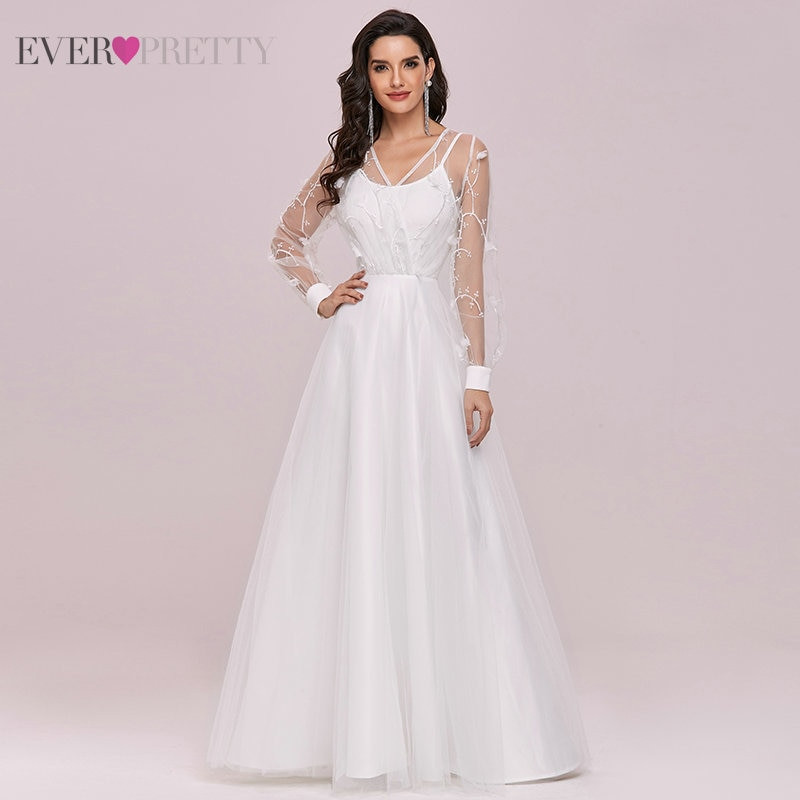 Plus Size Wedding Dresses For Women Ever Pretty A Line V Neck Flowers Long Sleeve Bridal Gowns Свадебное Платье 2021 EH00242
