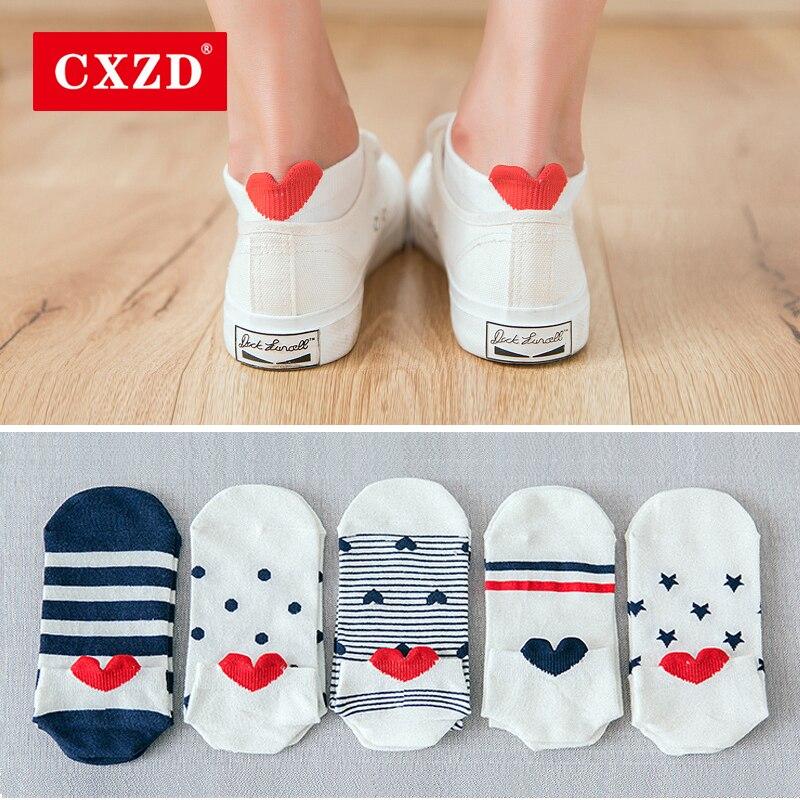 CXZD 5 pares nueva llegada las mujeres calcetines de algodón rosa lindo gato calcetines tobilleros cortos calcetines de oreja de Animal corazón rojo niña calcetines 35-40